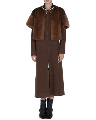 Long Wool Coat with Short-Sleeve Detachable Mink Fur Jacket