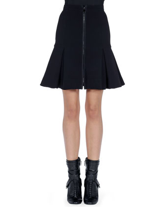 Cosmic Drop Long Knit Sweater and Zip-Front Dropped-Pleat Skirt