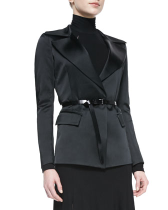 Belted Jacket with Sheer Back, Black