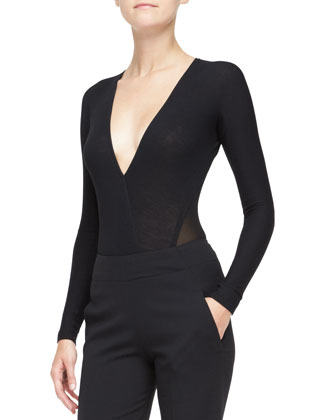 Belted Jacket with Sheer Back, Long-Sleeve V-Neck Bodysuit & Georgette ...