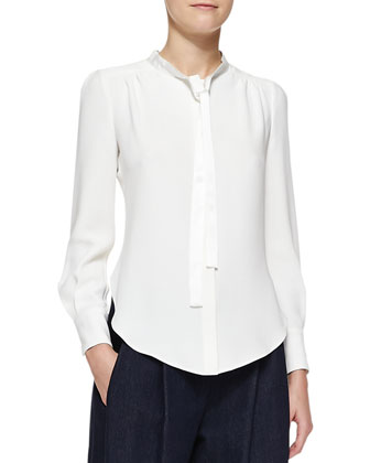 Long-Sleeve Tie-Neck Blouse, Ivory