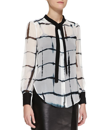 Long Single-Button Blazer, Printed Long-Sleeve Tie-Neck Blouse & Short ...