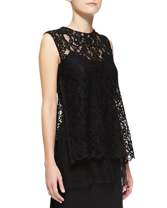 Sleeveless Crewneck Lace Overlay Tunic