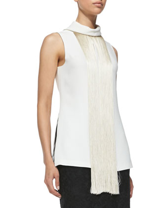 Sleeveless Fringe-Front Shirt