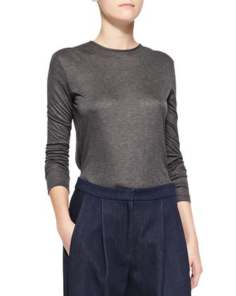 Long-Sleeve Crewneck Top, Charcoal