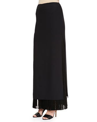 Sleeveless Crewneck Lace Overlay Tunic & Long Fringe Skirt