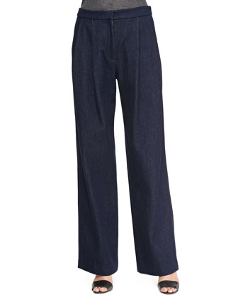 Wide-Leg Pleated Denim Pants, Indigo
