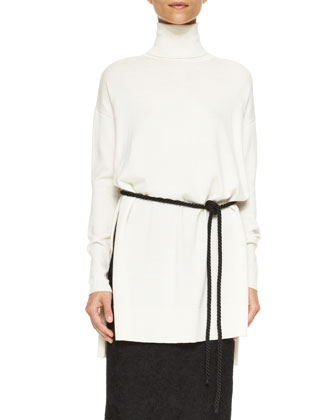 Long-Sleeve Turtleneck Sweater, Rope Belt & Bonded Lace Pencil Skirt
