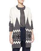 Fair Isle Knit Cardigan Coat, Ivory/Charcoal