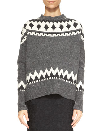 Fair Isle Crewneck Sweater & Bonded Lace Pencil Skirt