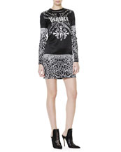 Tattoo-Print Long-Sleeve Dress