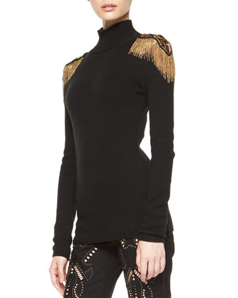 Golden Fringe-Shoulder Turtleneck Sweater