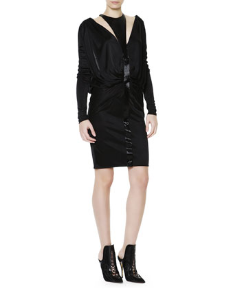 Long-Sleeve Liquid Jersey Beaded Cutout Dress