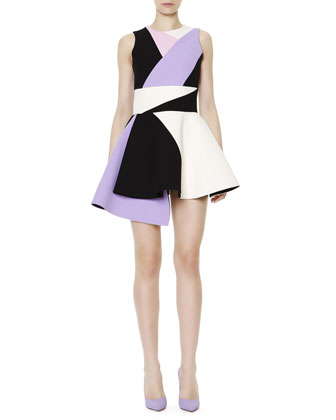 Sleeveless Colorblock Uneven-Hem Dress