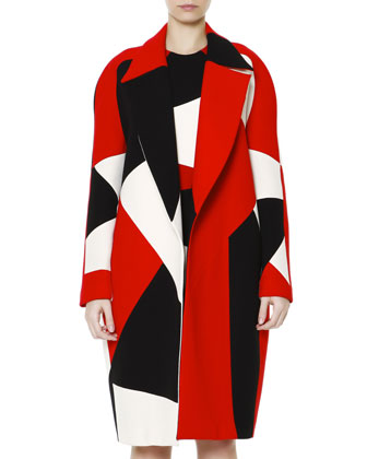 Zigzag Colorblock Wide-Lapel Caban Coat & Sheath Dress