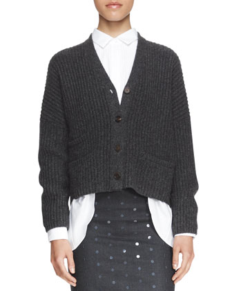 Boxy Ribbed Boyfriend Cardigan, Poplin Pintuck Boyfriend Shirt, Spaced ...