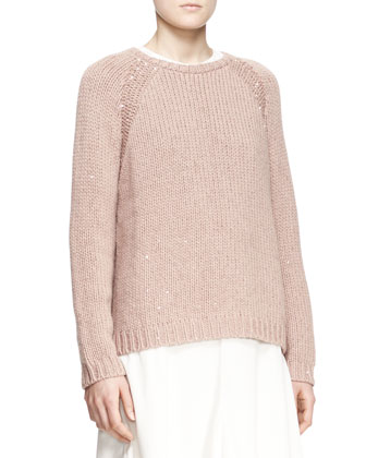 Sequined Stretch-Cashmere Raglan-Sleeve Sweater