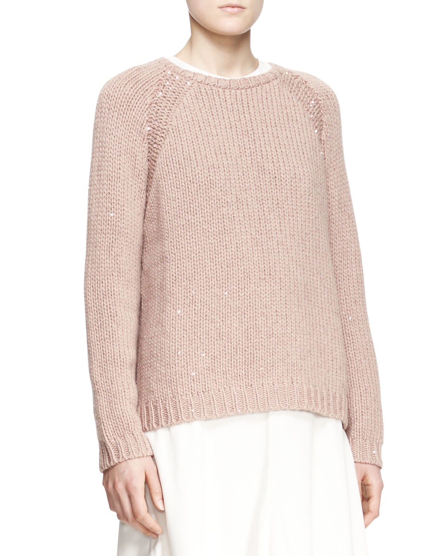 Womens Sequined Stretch Cashmere Raglan Sleeve Sweater   Brunello Cucinelli