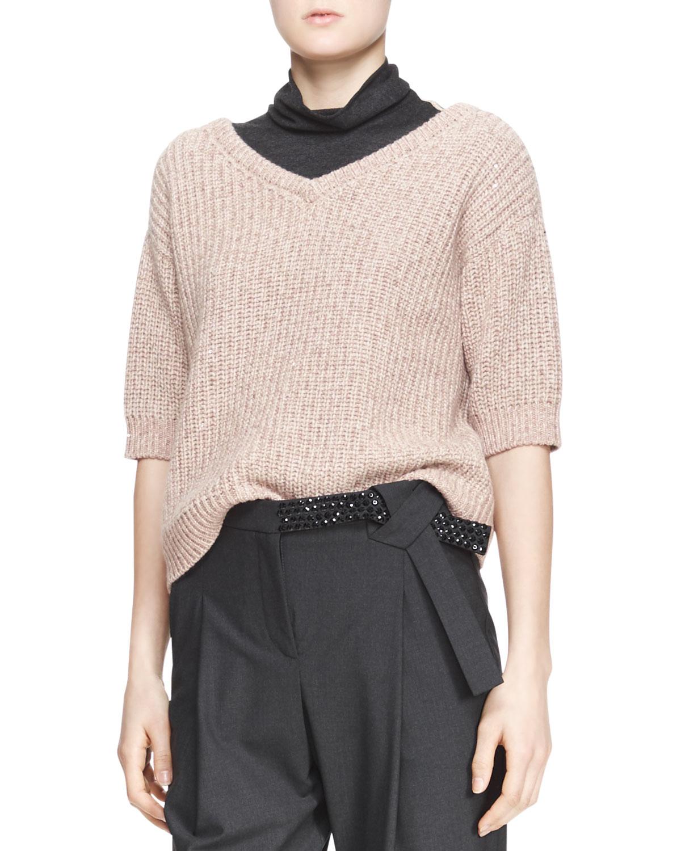 Womens Ribbed Half Sleeve Sweater   Brunello Cucinelli   Biscotti wheat (L/8)