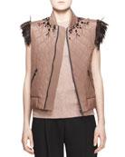 Embellished Feather-Trim Vest