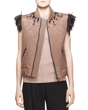 Embellished Feather-Trim Vest, Sequined Ribbed Cap-Sleeve Sweater & Full ...