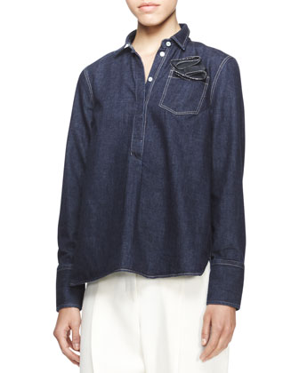Long-Sleeve Boyfriend Denim Shirt