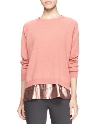 Long-Sleeve Boxy Crewneck Cashmere Sweater, Sleeveless Metallic T-Shirt & ...