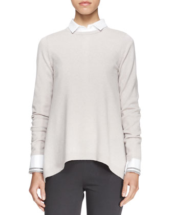 Long-Sleeve Cashmere Knit Top