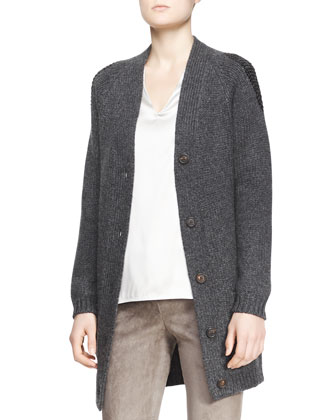 Long Boyfriend Patch-Pocket Cashmere Cardigan