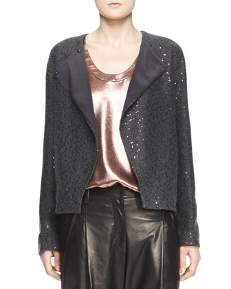 Sequin Knit Cashmere Cardigan with Folded Lapel, Sleeveless Ribbed-Knit Tee ...