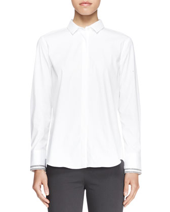 Long-Sleeve Poplin Blouse