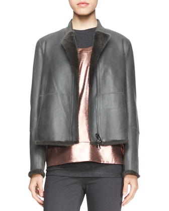 Seamed Shearling-Trim Jacket, Sleeveless Metallic T-Shirt & Sleeveless ...