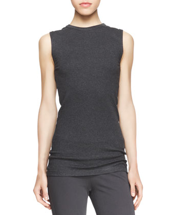Long-Sleeve Ribbed Raglan Sweater, Sleeveless Ribbed-Knit Tee, High-Waist ...