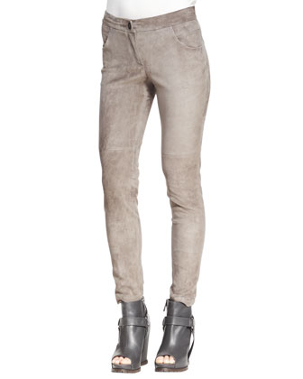 Fitted Suede Pencil Leg Pants