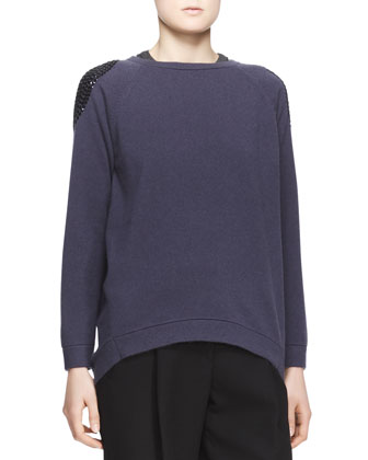 Embellished-Shoulder Cashmere Sweater