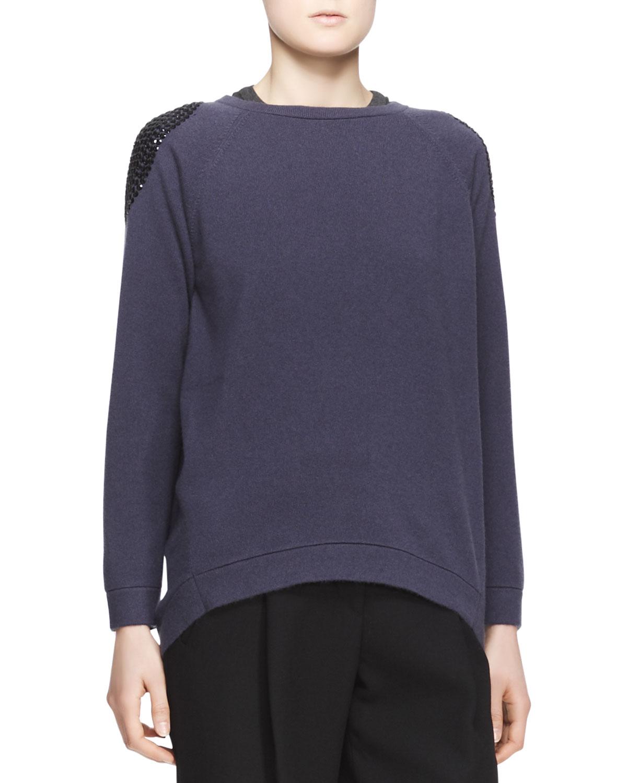 Womens Embellished Shoulder Cashmere Sweater   Brunello Cucinelli   Twilight