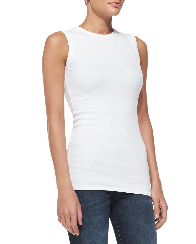 Womens Sleeveless Ribbed T Shirt   Brunello Cucinelli   White (XXL/12)