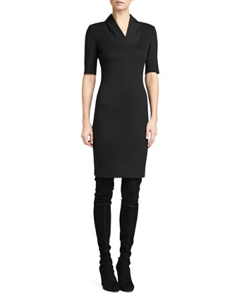 Engineered Rib Knit Dress, Caviar