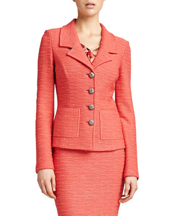New Shantung Fitted Jacket, Pink Grapefruit
