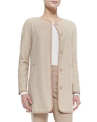 Silk Wool Herringbone Jacket, New Camel