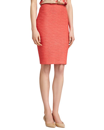New Shantung Knit Pencil Skirt, Pink Grapefruit