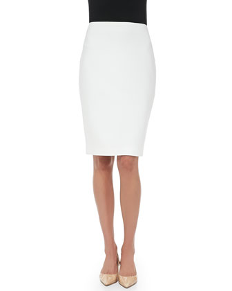 Crepe Marocain Pencil Skirt, Cream