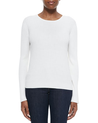 Fine Gauge Rib Knit Sweater, Cream