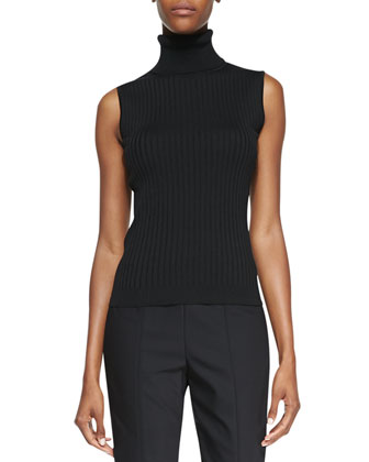 Sleeveless Fine Gauge Rib Knit Shell, Caviar
