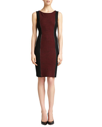 Sleeveless Knit Bateau Neck Dress, Caviar/Venetian