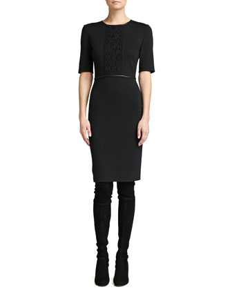 Milano Knit Elbow-Sleeve Dress, Caviar