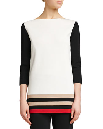 Milano Knit Colorblock Tunic, Caviar/Multi