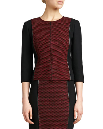 Jewel-Neck 3/4-Sleeve Jacket, Caviar/Venetian
