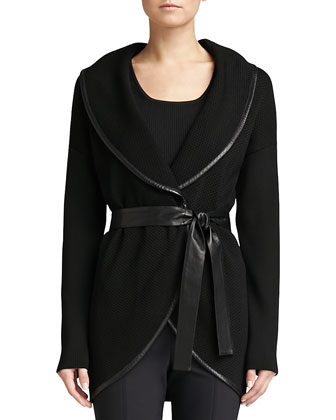 Raised Honeycomb Knit Shawl-Collar Jacket, Caviar