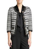 Stripe Knit 3/4-Sleeve Jacket, Caviar/White